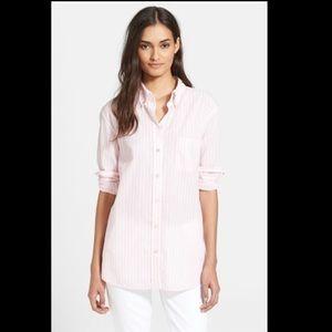Equipment Femme Cotton Striped Powder Pink Shirt